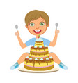 young boy with birthday cake a colorful character vector image vector image