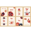 Hand drawn vintage floral card collection vector image