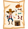 A poster with an armed old cowboy and a saloon bar vector image vector image