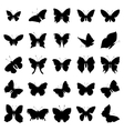 Butterfly silhouette set vector image
