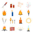 cartoon lights and flames signs icon set vector image