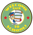 Cartoon Mascot-Student With Text Welcome to Scho vector image vector image