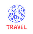 cartoon travel earth or planet doodle lettering vector image
