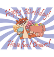 Cat and gift boxes birthday cartoon vector image