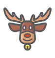 christmas deer filled outline icon new year vector image
