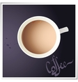 Coffee cup with world map on background top view vector image