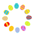 Colored Easter egg set round frame on white vector image vector image