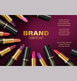 colorful lipstick ads fashion poster design with vector image vector image