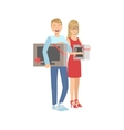 Couple Buying Tv And Microwave Oven In Shopping vector image