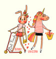 cute card with best friends babunny and vector image vector image