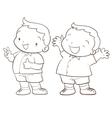 cute cartoon boy character line art vector image vector image