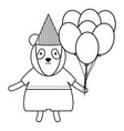 cute polar bear with balloon helium in party vector image