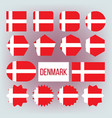 danish national colors insignia icons set vector image vector image