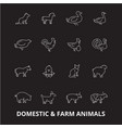 domestic farm animals editable line icons vector image vector image