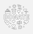 donate round charity and vector image vector image