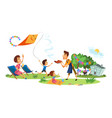 family picnic colorful poster vector image