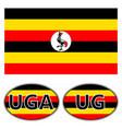 flag and stickers on the car of uganda vector image vector image