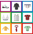 flat icon clothes set of underclothes t-shirt vector image vector image