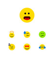 flat icon emoji set of frown cold sweat tears vector image vector image