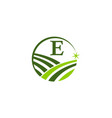 green project solution center initial e vector image vector image