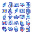 healthcare system color linear icons set vector image