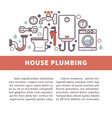 house bathroom and kitchen plumbing poster vector image vector image