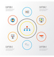 job flat icons set collection of developer vector image vector image