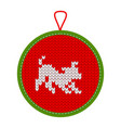 knitted christmas decoration play dog vector image vector image