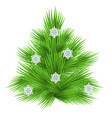 lush fir tree decorated with snowflakes isolated vector image vector image