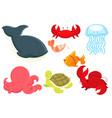 marine animals cartoon vector image vector image