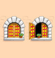 medieval window red stained glasses white stones vector image