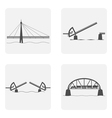 monochrome icon set with bridgework vector image vector image