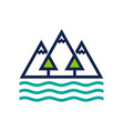mountain forest and ocean logo design vector image