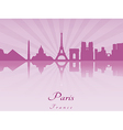 Paris skyline in purple radiant orchid vector image vector image