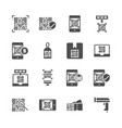 qr code related in glyph icon set vector image vector image