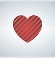 red heart with diagonal stripes isolated on white vector image