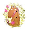 romantic horse in flowers wreath cartoon vector image vector image