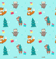 seamless pattern with cute christmas vector image vector image
