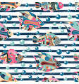 seamless pattern with hand draw entangle exotic vector image