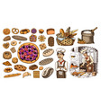 set bakery products pastry chef and bag of vector image