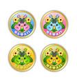 set golden hawaii badges in polynesian style vector image