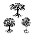 set of abstract stylized trees with roots vector image