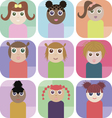 Set of rectangle icons with cute girls vector image vector image
