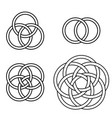 set patterns intertwined rings logo tattoo vector image vector image