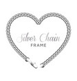 silver chain heart love border frame template vector image