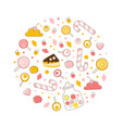sweet desserts seamless pattern round shape vector image vector image