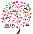tree floral owl 3 vector image