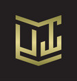 ut logo emblem monogram with shield style design vector image vector image
