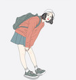women carrying backpacks are ready to travel vector image