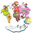 world map with kids and animals vector image